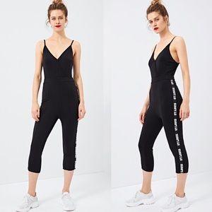 "Pants - ""St. Louis"" Printed Wrap Black Jumpsuit Overall"